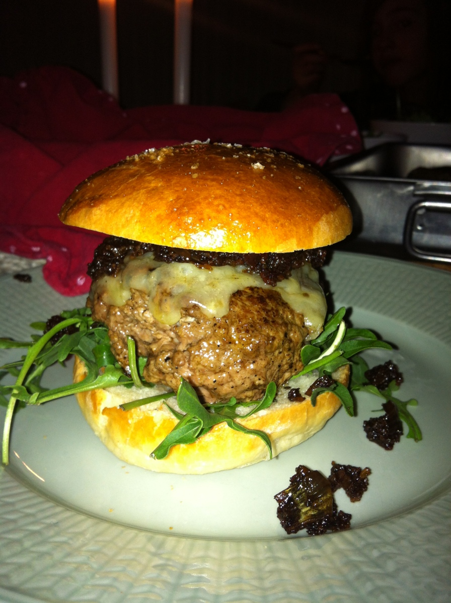 Chuck burgers with smoky cheddar cheese, arugula and bacon jam